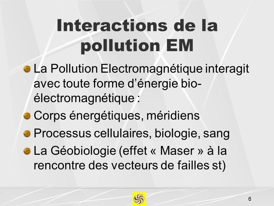 Interactions de la pollution EM La Pollution Electromagnétique interagit avec toute forme dénergie bio- électromagnétique : Corps énergétiques, méridi
