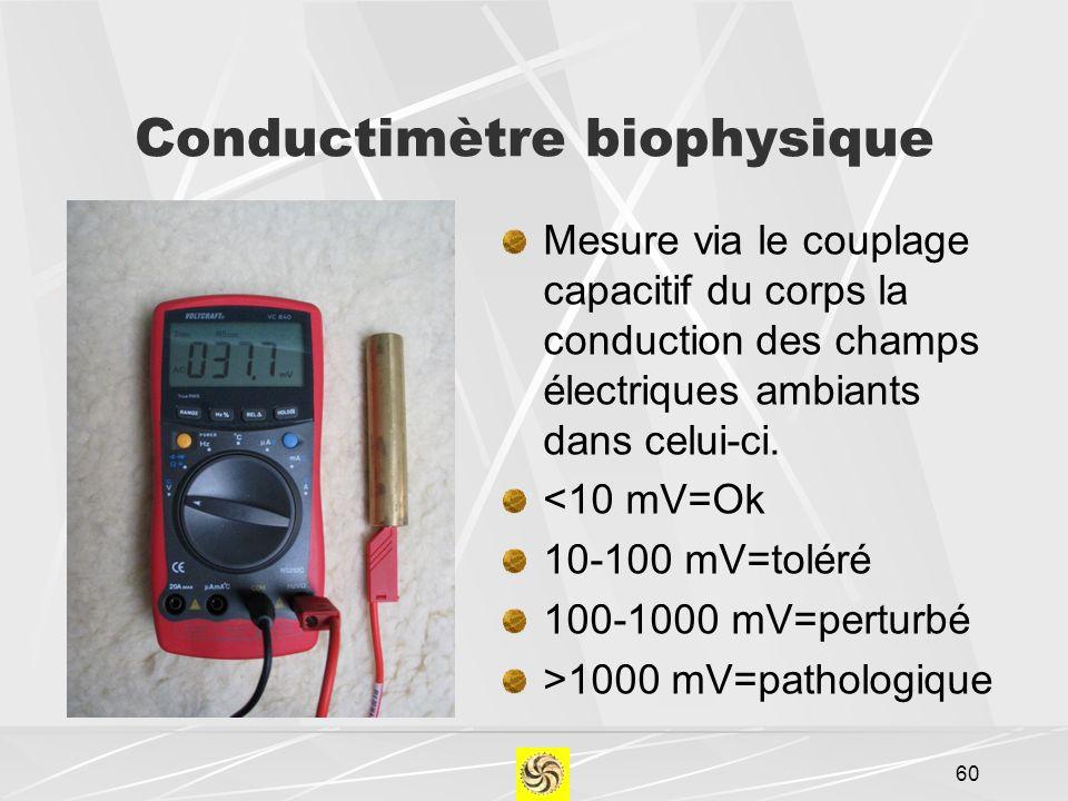 Conductimètre biophysique Mesure via le couplage capacitif du corps la conduction des champs électriques ambiants dans celui-ci. <10 mV=Ok 10-100 mV=t