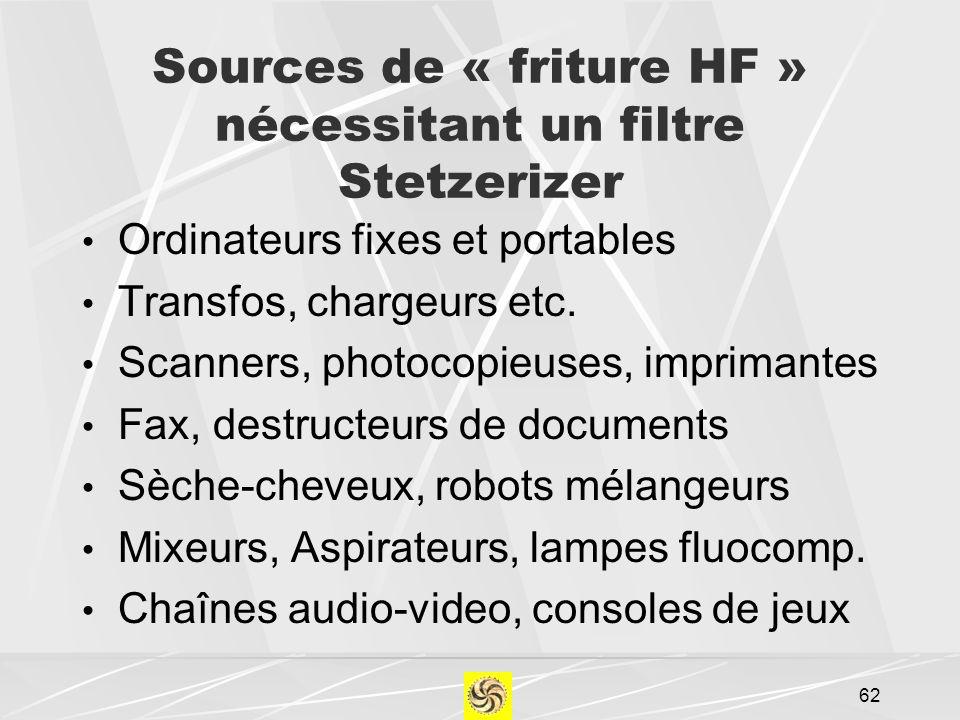 Sources de « friture HF » nécessitant un filtre Stetzerizer Ordinateurs fixes et portables Transfos, chargeurs etc. Scanners, photocopieuses, impriman