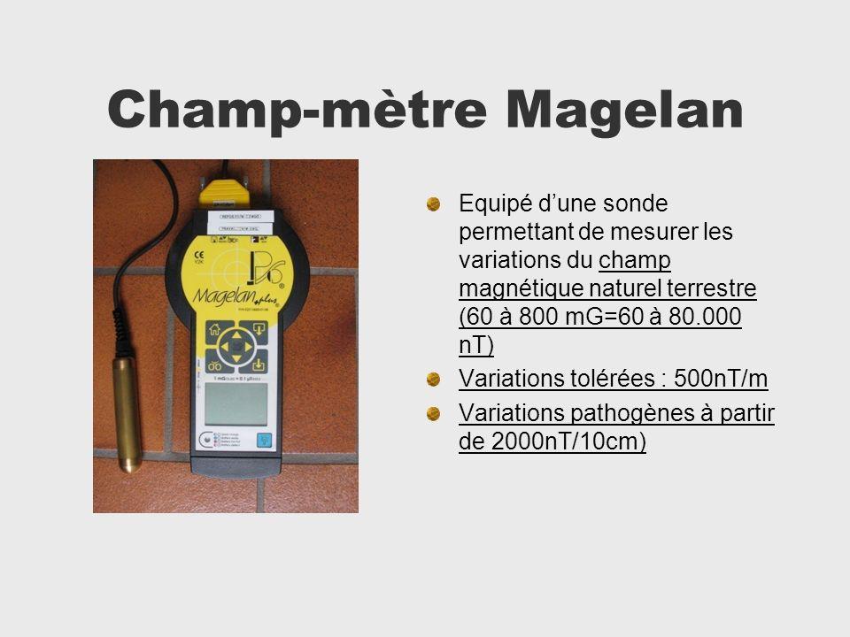 Champ-mètre Magelan Equipé dune sonde permettant de mesurer les variations du champ magnétique naturel terrestre (60 à 800 mG=60 à 80.000 nT) Variatio