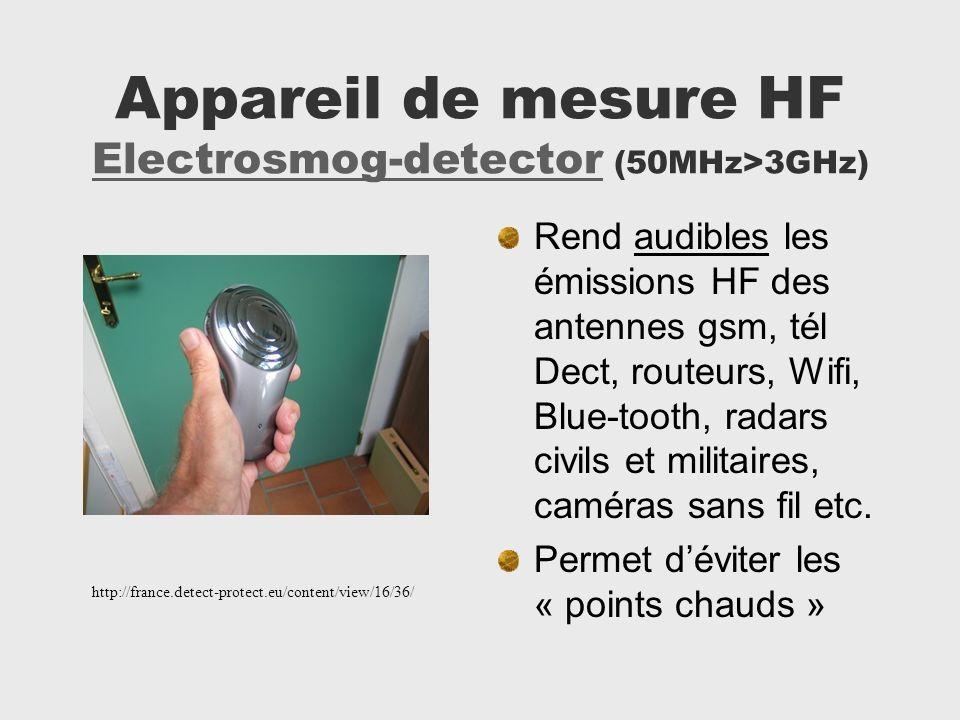 Appareil de mesure HF Electrosmog-detector (50MHz>3GHz) Electrosmog-detector Rend audibles les émissions HF des antennes gsm, tél Dect, routeurs, Wifi