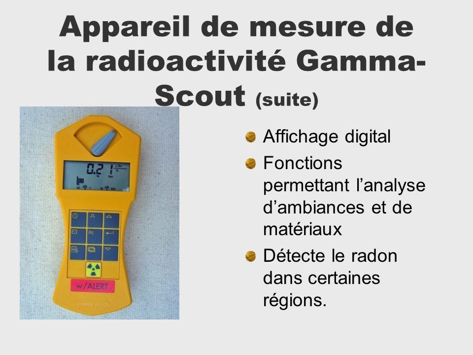 Appareil de mesure de la radioactivité Gamma- Scout (suite) Affichage digital Fonctions permettant lanalyse dambiances et de matériaux Détecte le rado