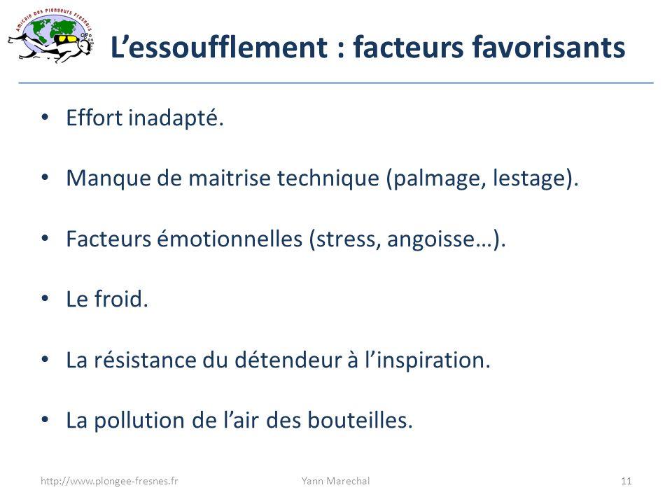 Lessoufflement : facteurs favorisants Effort inadapté. Manque de maitrise technique (palmage, lestage). Facteurs émotionnelles (stress, angoisse…). Le