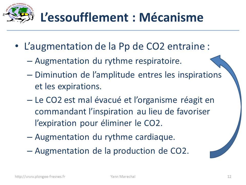 Lessoufflement : Mécanisme Laugmentation de la Pp de CO2 entraine : – Augmentation du rythme respiratoire. – Diminution de lamplitude entres les inspi