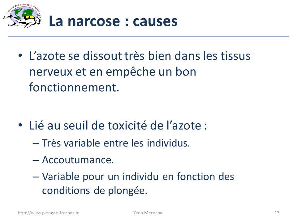 La narcose : causes Lazote se dissout très bien dans les tissus nerveux et en empêche un bon fonctionnement. Lié au seuil de toxicité de lazote : – Tr