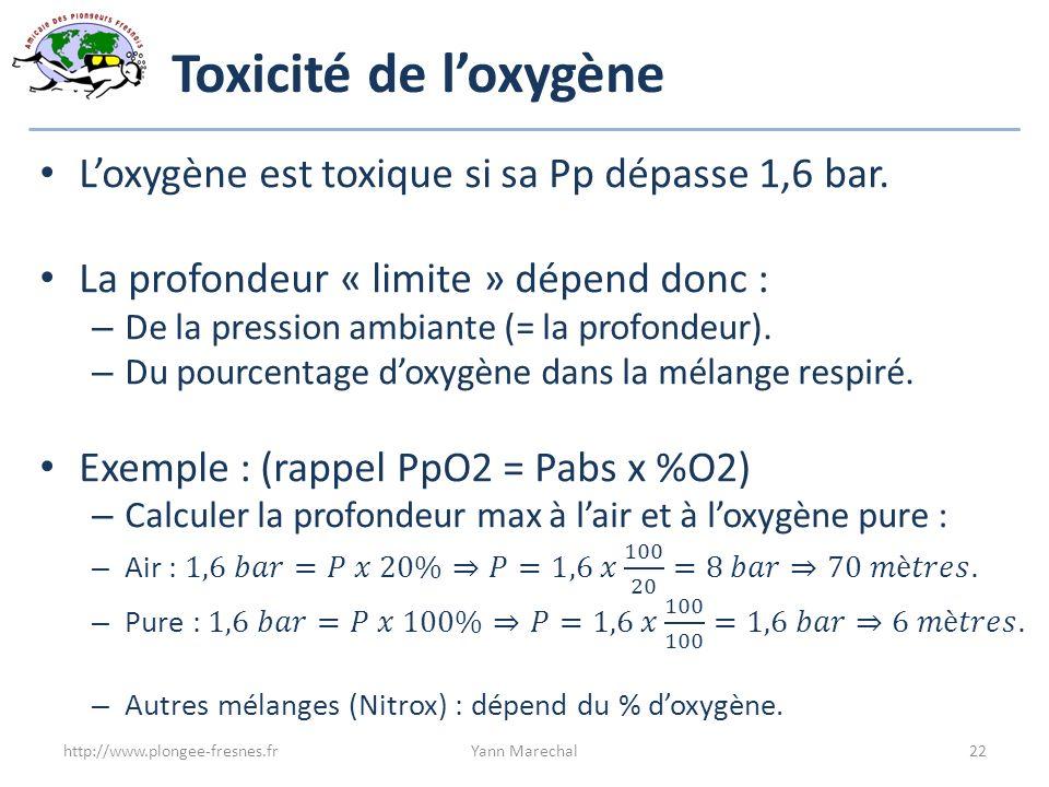 Toxicité de loxygène http://www.plongee-fresnes.frYann Marechal22