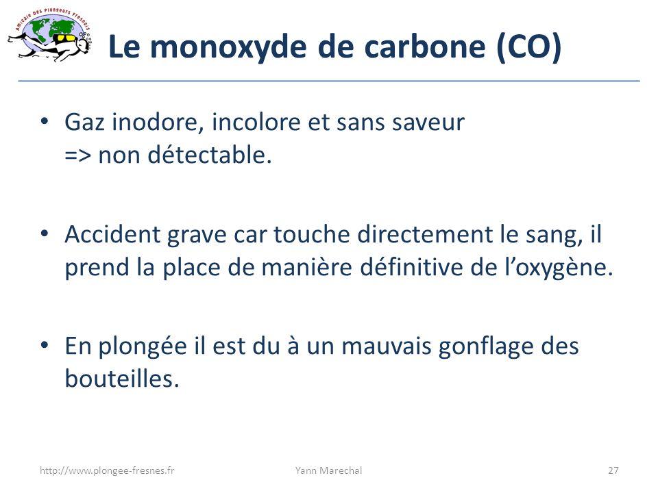 Le monoxyde de carbone (CO) Gaz inodore, incolore et sans saveur => non détectable. Accident grave car touche directement le sang, il prend la place d
