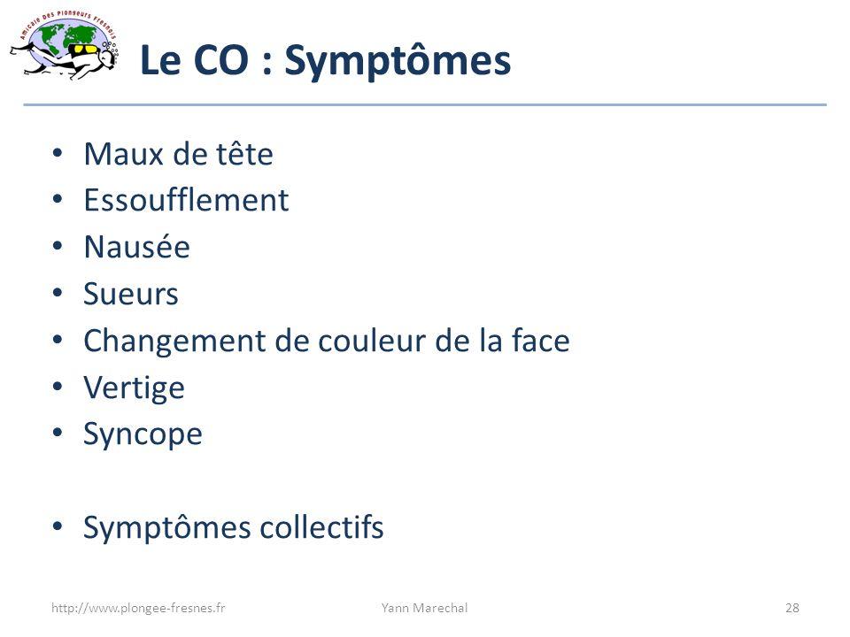 Le CO : Symptômes Maux de tête Essoufflement Nausée Sueurs Changement de couleur de la face Vertige Syncope Symptômes collectifs http://www.plongee-fr
