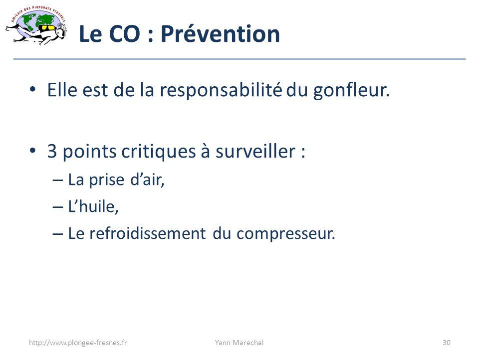 Le CO : Prévention Elle est de la responsabilité du gonfleur. 3 points critiques à surveiller : – La prise dair, – Lhuile, – Le refroidissement du com