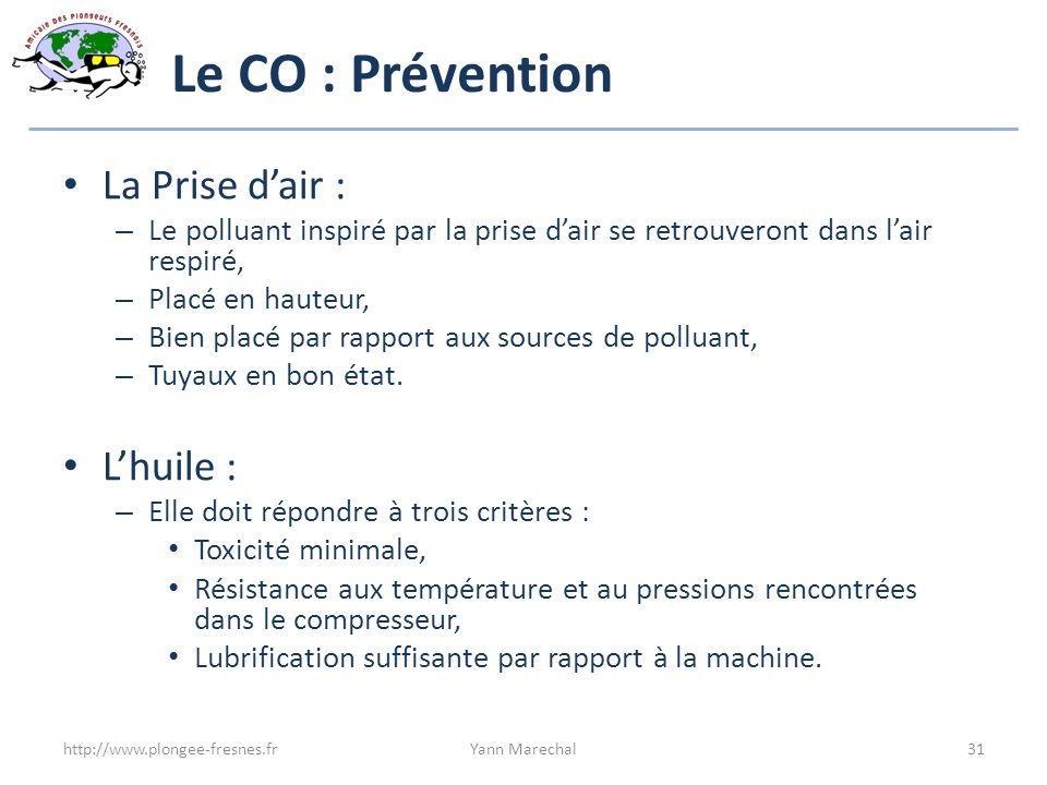 Le CO : Prévention La Prise dair : – Le polluant inspiré par la prise dair se retrouveront dans lair respiré, – Placé en hauteur, – Bien placé par rap