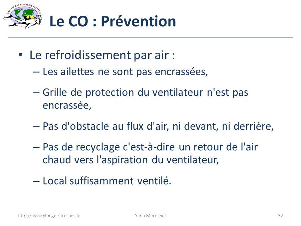 Le CO : Prévention Le refroidissement par air : – Les ailettes ne sont pas encrassées, – Grille de protection du ventilateur n'est pas encrassée, – Pa