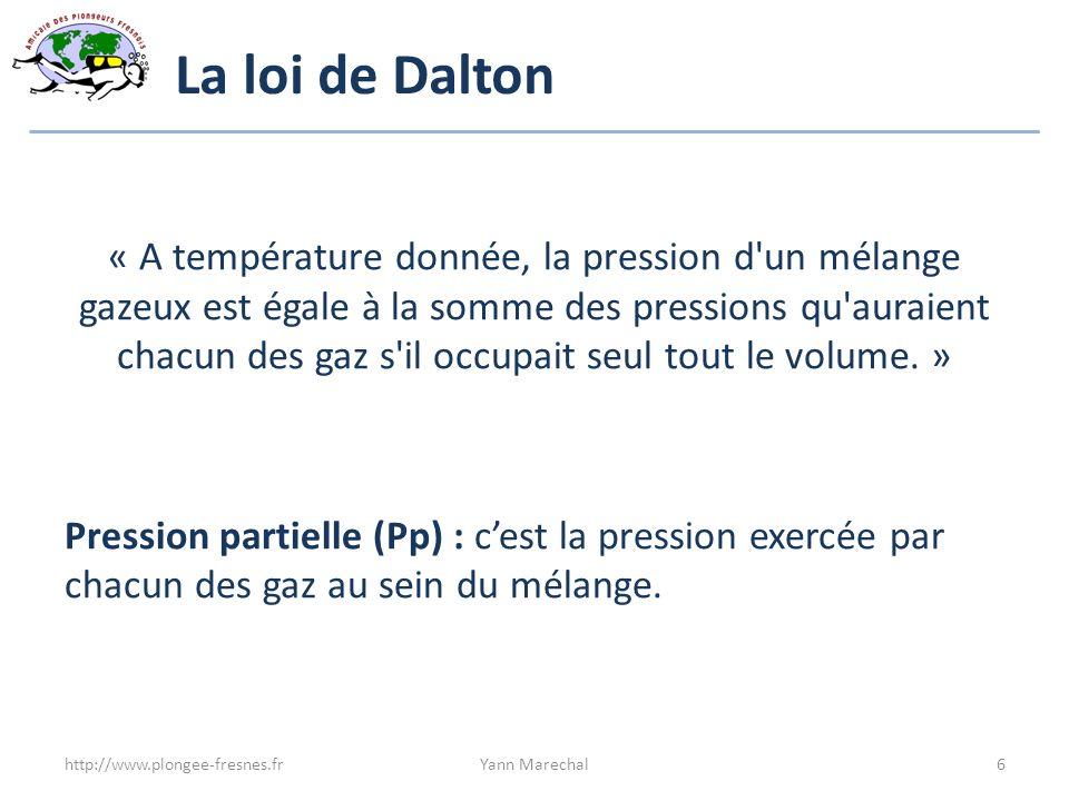 La loi de Dalton « A température donnée, la pression d'un mélange gazeux est égale à la somme des pressions qu'auraient chacun des gaz s'il occupait s
