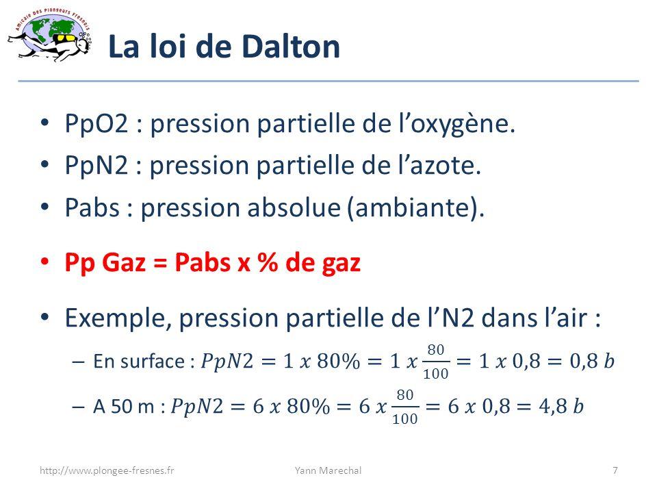 Seuil de toxicité des gaz Oxygène : 1,6 bar Azote : 3,2 bar Dioxyde de Carbone : 0,02 bar (2%) Monoxyde de Carbone : 1/10 000 http://www.plongee-fresnes.frYann Marechal8