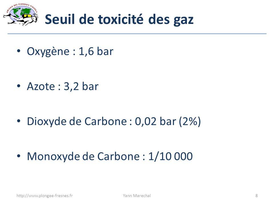Seuil de toxicité des gaz Oxygène : 1,6 bar Azote : 3,2 bar Dioxyde de Carbone : 0,02 bar (2%) Monoxyde de Carbone : 1/10 000 http://www.plongee-fresn