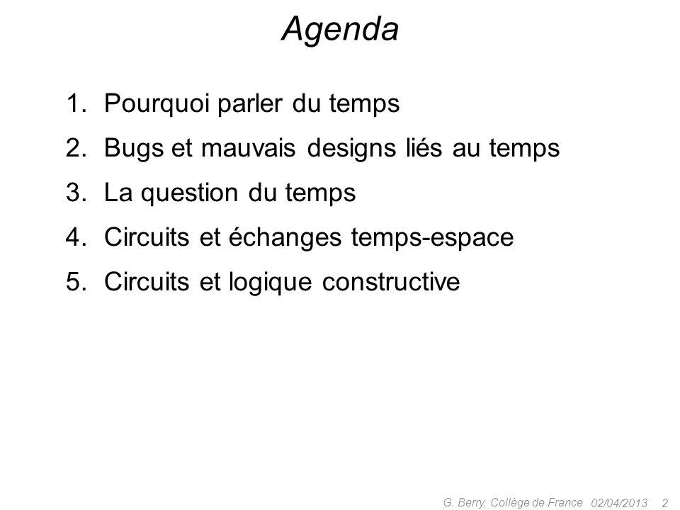 02/04/2013 22 G. Berry, Collège de France Esterel v7 pour les circuits données + contrôle