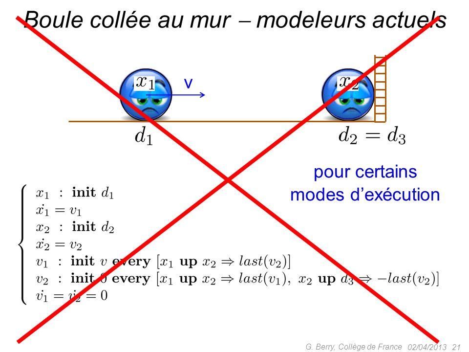 02/04/2013 20 G. Berry, Collège de France Deux boules et un mur Modeleurs actuels OK