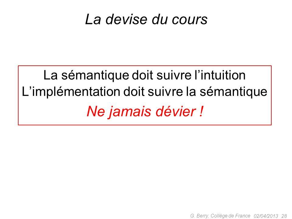 02/04/201327G. Berry, Collège de France Mais pourquoi utiliser des priorités .
