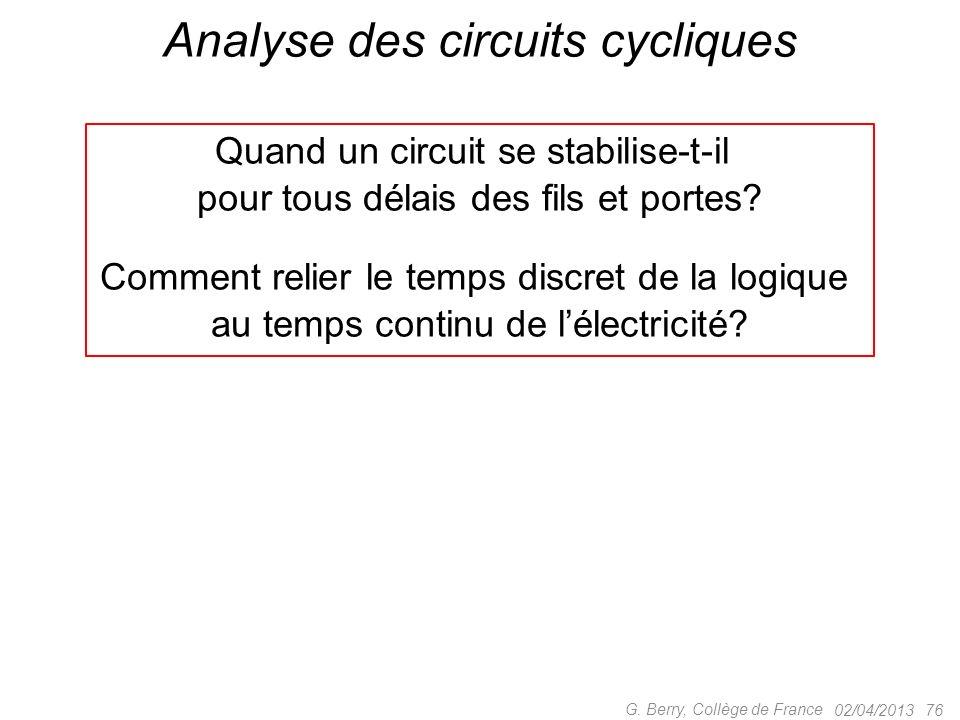 02/04/2013 75 G. Berry, Collège de France Les trois sortes de circuits cycliques 2.