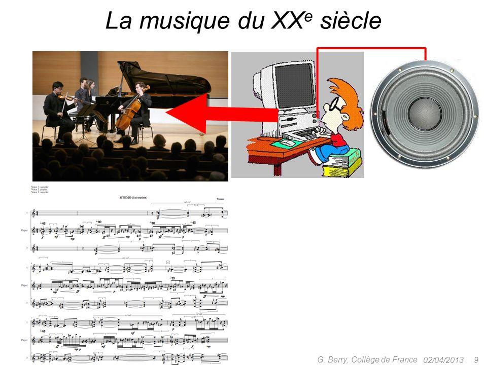 02/04/2013 9 G. Berry, Collège de France La musique du XX e siècle