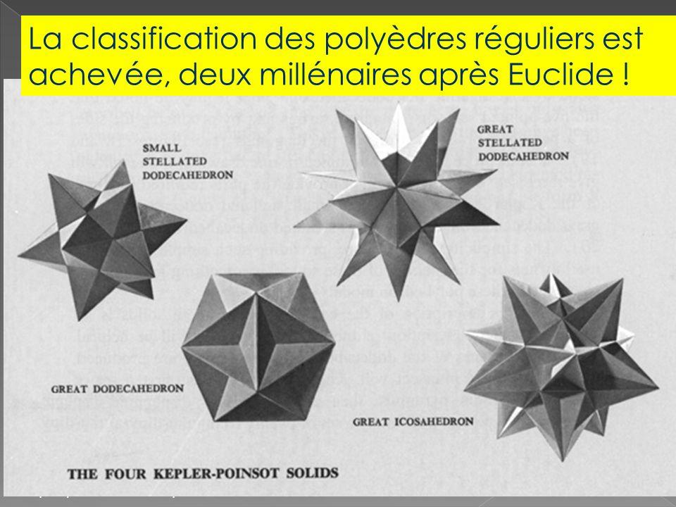 La classification d'Euclide exerce une fascination particulière sur Képler (1571- 1630). Képler achève d'abord la classification des polyèdres semi- r