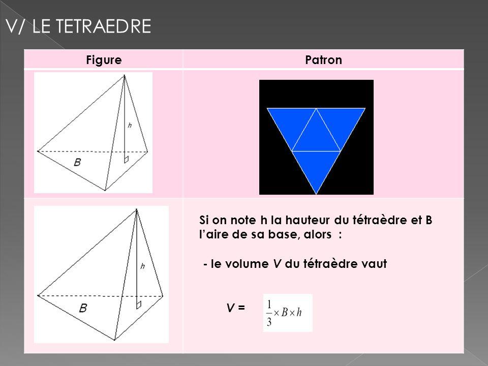 FigurePatron V/ LE TETRAEDRE Si on note h la hauteur du tétraèdre et B laire de sa base, alors : - le volume V du tétraèdre vaut V =