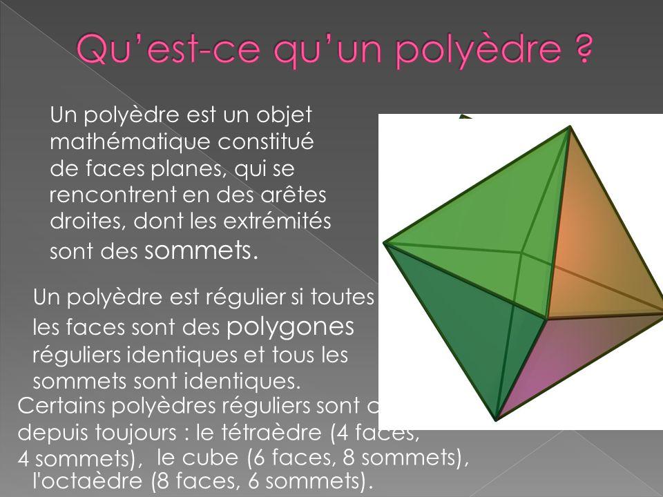 Un polyèdre est un objet mathématique constitué de faces planes, qui se rencontrent en des arêtes droites, dont les extrémités sont des sommets. Un po