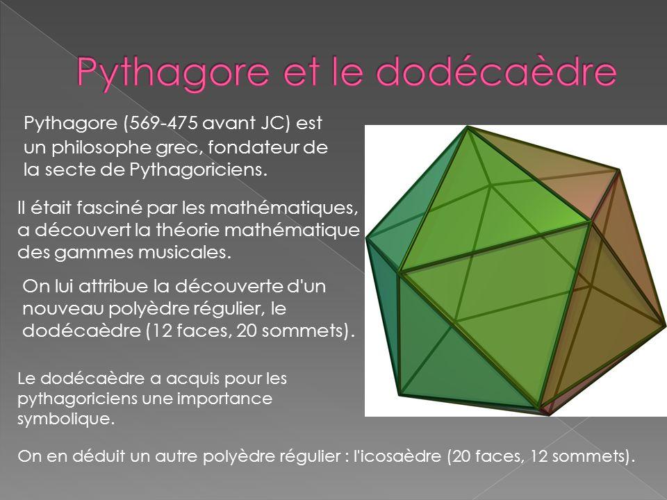 Pythagore (569-475 avant JC) est un philosophe grec, fondateur de la secte de Pythagoriciens. Il était fasciné par les mathématiques, a découvert la t