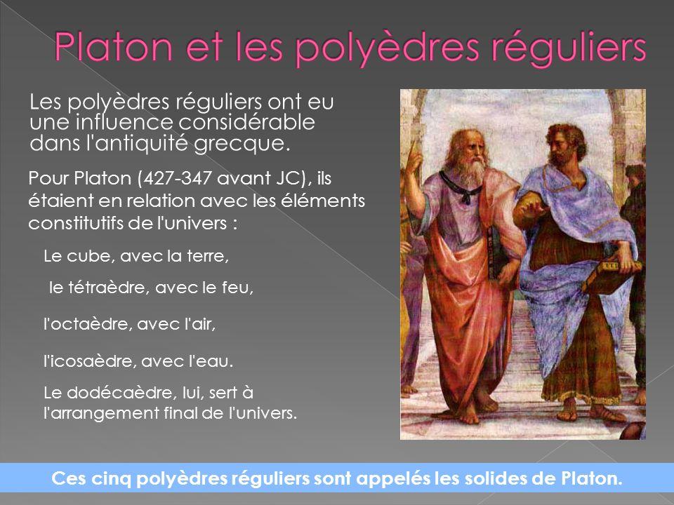 Les polyèdres réguliers ont eu une influence considérable dans l'antiquité grecque. Pour Platon (427-347 avant JC), ils étaient en relation avec les é