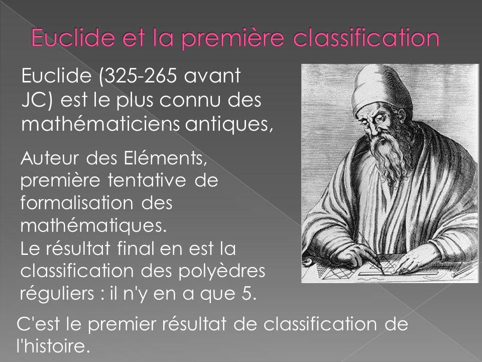 Euclide (325-265 avant JC) est le plus connu des mathématiciens antiques, Auteur des Eléments, première tentative de formalisation des mathématiques.