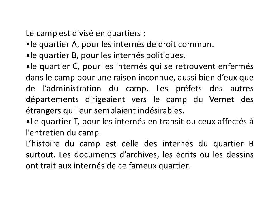 Le camp est divisé en quartiers : le quartier A, pour les internés de droit commun.