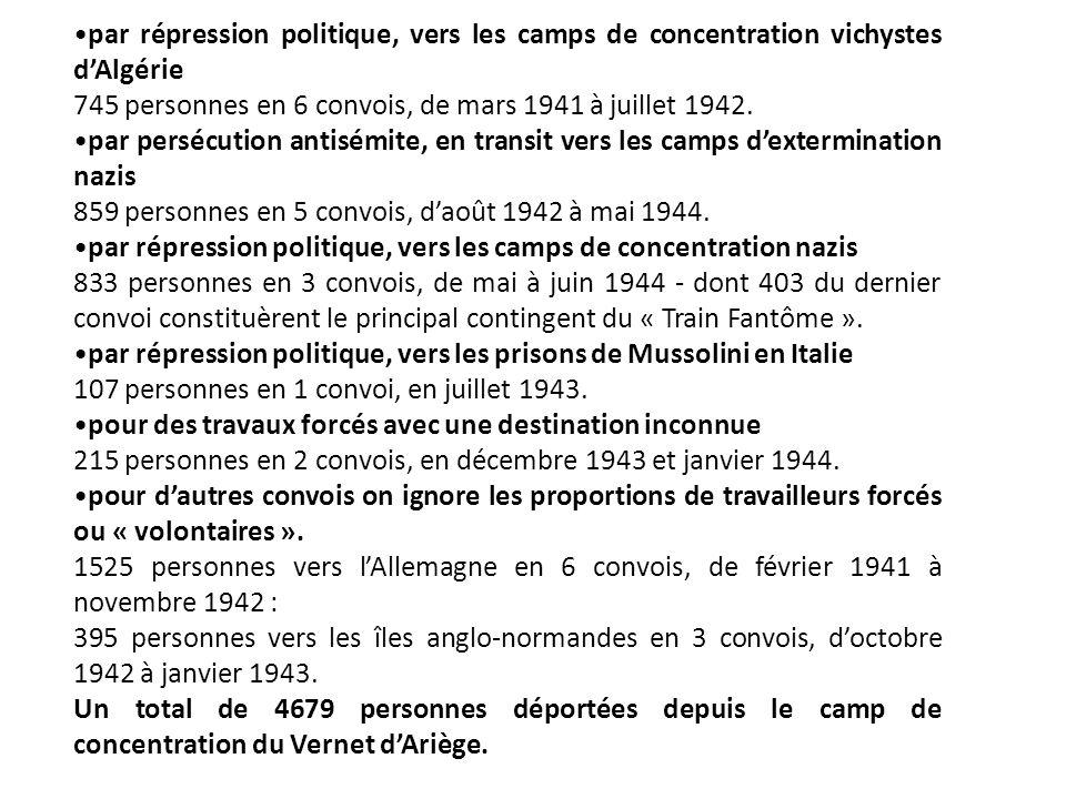 par répression politique, vers les camps de concentration vichystes dAlgérie 745 personnes en 6 convois, de mars 1941 à juillet 1942.