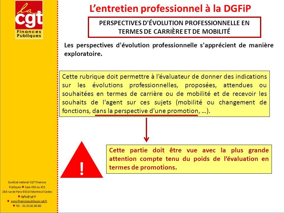 Lentretien professionnel à la DGFiP Cette rubrique concerne tous les points évoqués au cours de lentretien autres que ceux énoncés ci-avant tant à linitiative de lévaluateur que de lagent.