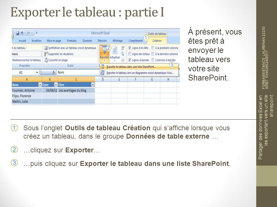 Exporter le tableau : partie I FORMASSISTANCE LAURENAN 22230 SIRET 53462852400017 Partager des données Excel en les exportant vers un site sharepoint À présent, vous êtes prêt à envoyer le tableau vers votre site SharePoint.