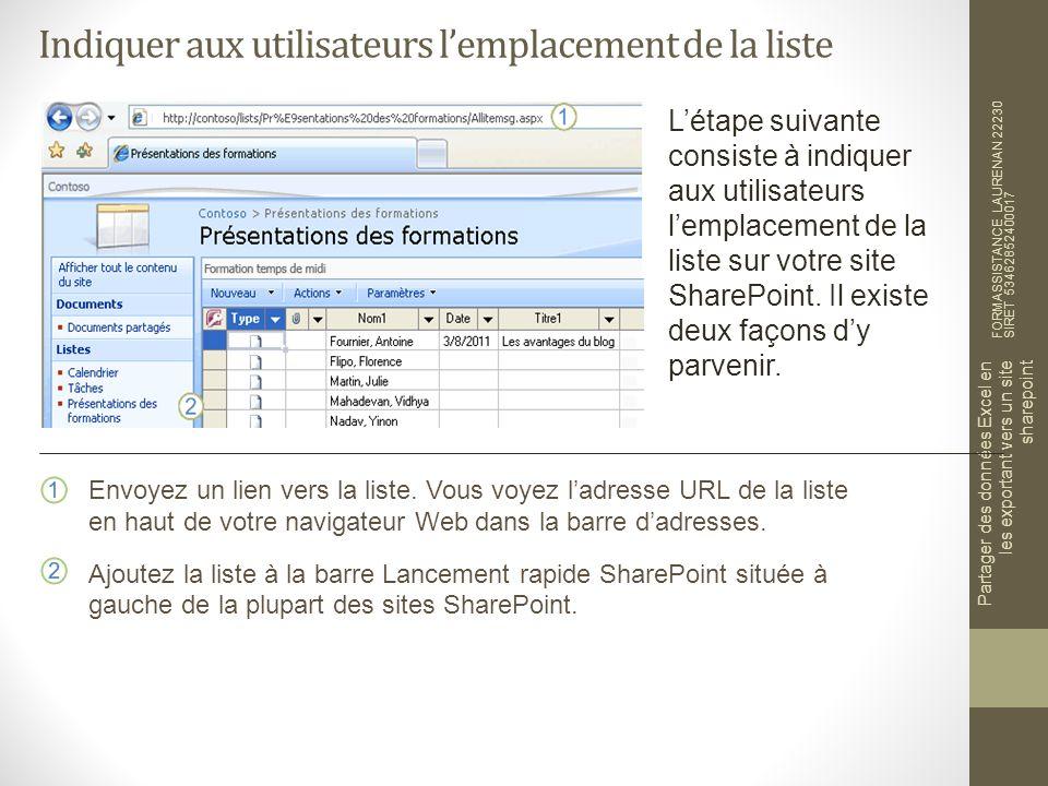 Indiquer aux utilisateurs lemplacement de la liste FORMASSISTANCE LAURENAN 22230 SIRET 53462852400017 Partager des données Excel en les exportant vers un site sharepoint Létape suivante consiste à indiquer aux utilisateurs lemplacement de la liste sur votre site SharePoint.