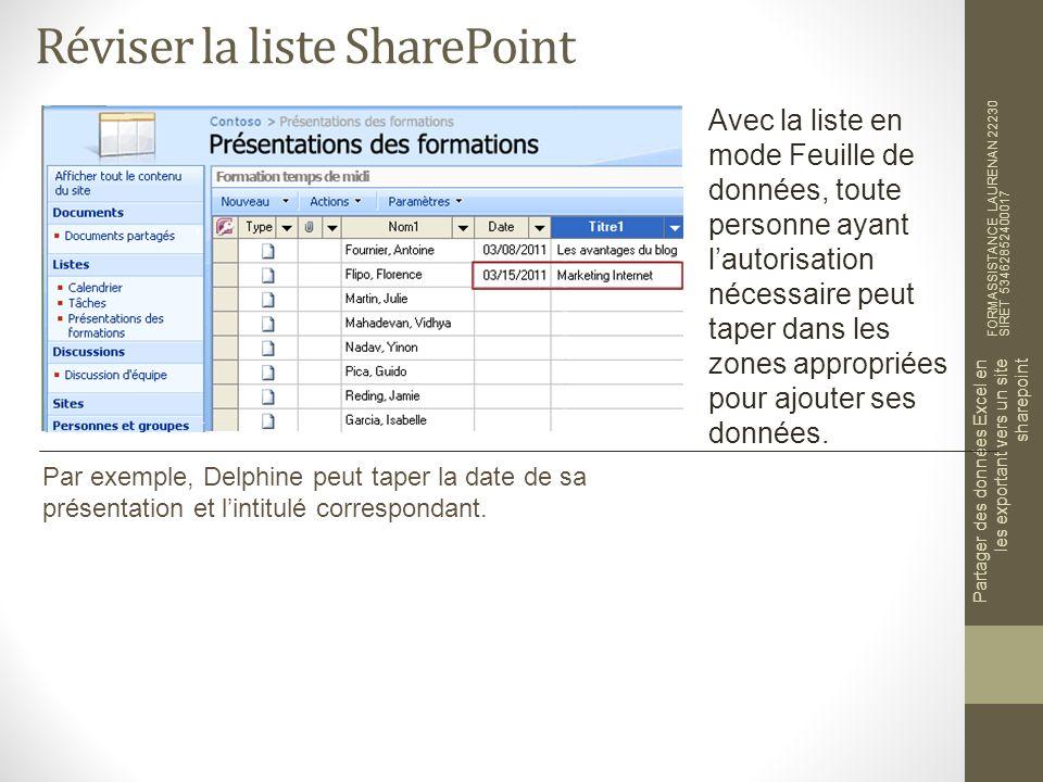 Réviser la liste SharePoint FORMASSISTANCE LAURENAN 22230 SIRET 53462852400017 Partager des données Excel en les exportant vers un site sharepoint Avec la liste en mode Feuille de données, toute personne ayant lautorisation nécessaire peut taper dans les zones appropriées pour ajouter ses données.