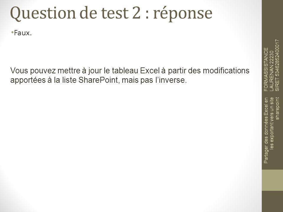 Question de test 2 : réponse Faux.