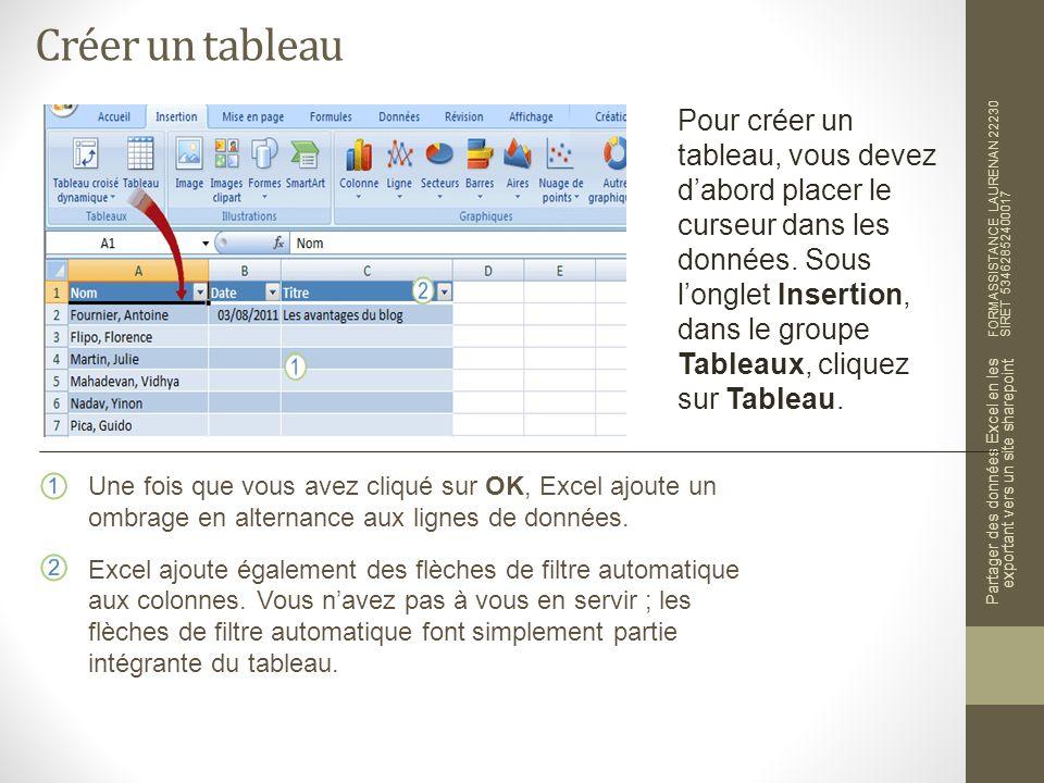 Mettre à jour les données du tableau Excel FORMASSISTANCE LAURENAN 22230 SIRET 53462852400017 Partager des données Excel en les exportant vers un site sharepoint Après lactualisation et lobtention de mises à jour dune liste SharePoint vers Excel, pouvez- vous apporter des modifications dans Excel et les envoyer vers la liste SharePoint .