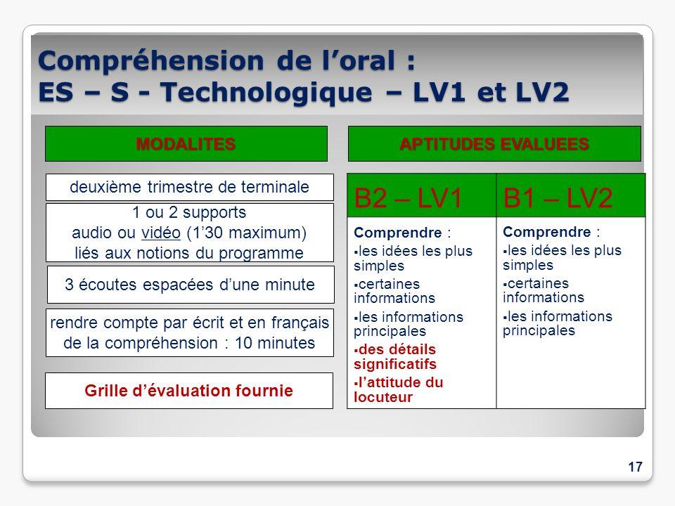Compréhension de loral : ES – S - Technologique – LV1 et LV2 17 B2 – LV1B1 – LV2 Comprendre : les idées les plus simples certaines informations les in