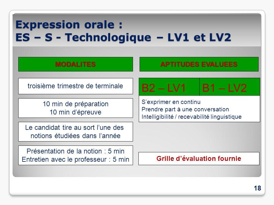 Expression orale : ES, S, STI2D, STD2A STG, ST2S - LV1 / LV2 18 B2 – LV1B1 – LV2 Sexprimer en continu Prendre part à une conversation Intelligibilité