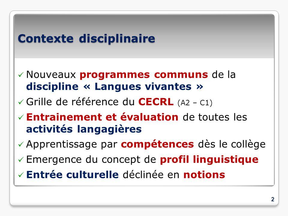 Contexte disciplinaire Nouveaux programmes communs de la discipline « Langues vivantes » Grille de référence du CECRL (A2 – C1) Entrainement et évalua