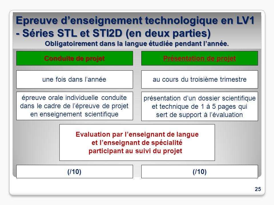 25 Epreuve denseignement technologique en LV1 - Séries STL et STI2D (en deux parties) Obligatoirement dans la langue étudiée pendant lannée. une fois