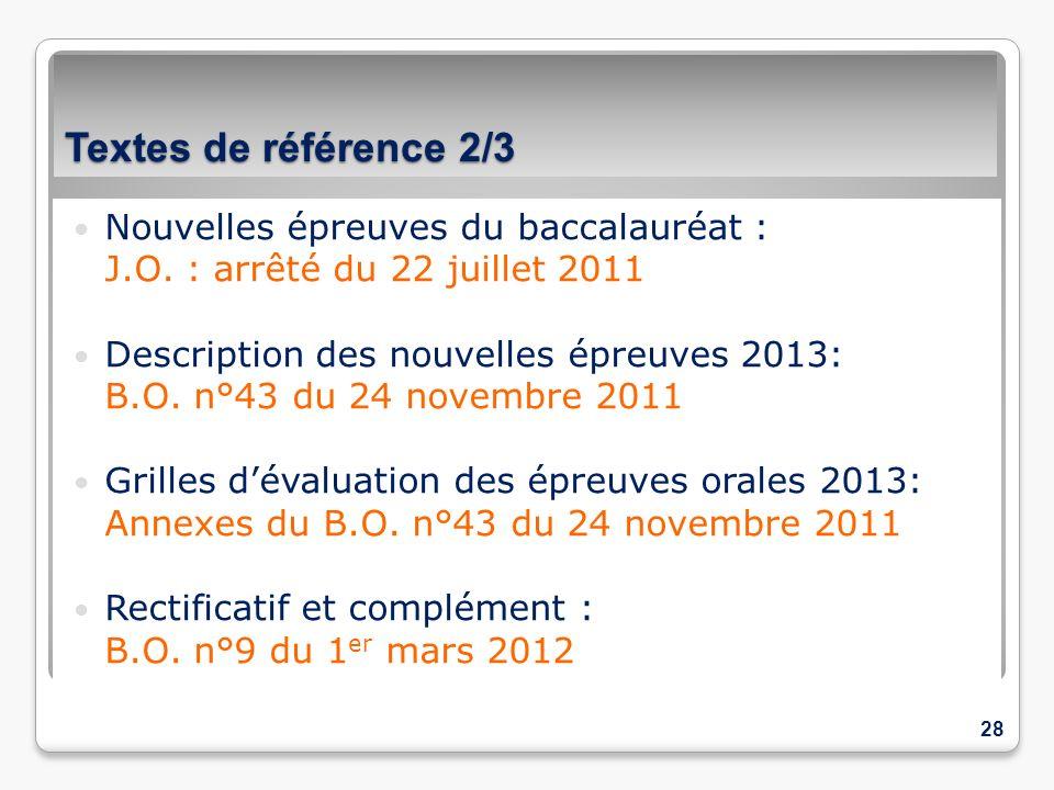 Textes de référence 2/3 Nouvelles épreuves du baccalauréat : J.O. : arrêté du 22 juillet 2011 Description des nouvelles épreuves 2013: B.O. n°43 du 24
