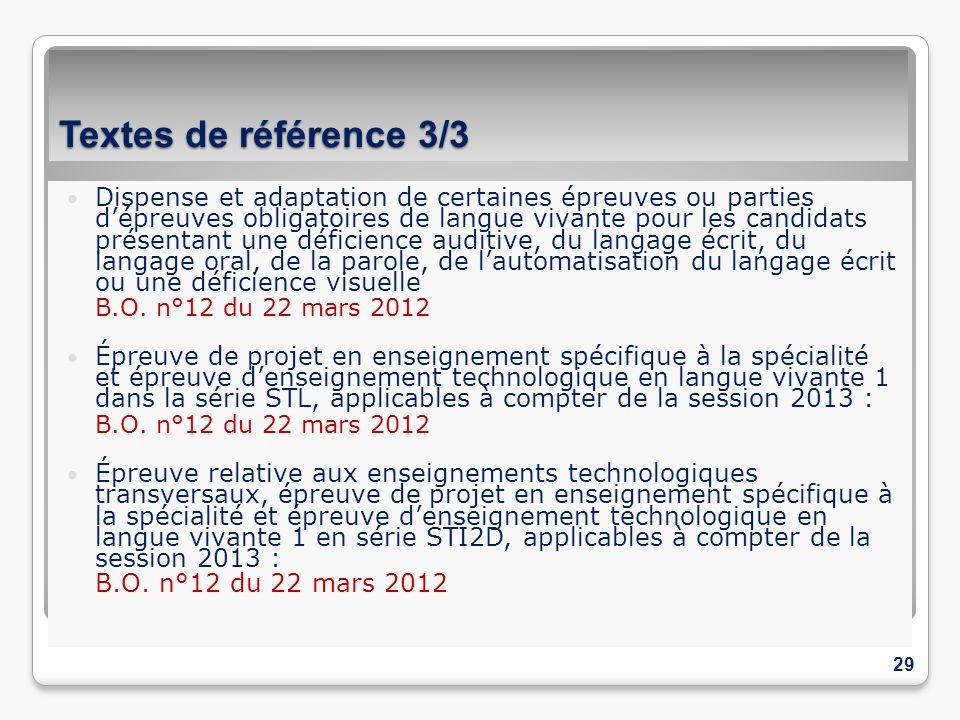Textes de référence 3/3 Dispense et adaptation de certaines épreuves ou parties dépreuves obligatoires de langue vivante pour les candidats présentant