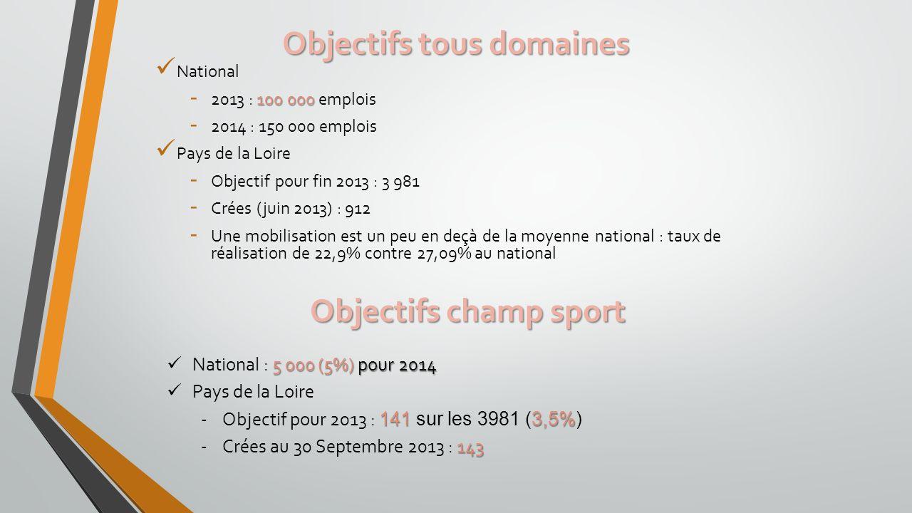 Objectifs tous domaines National 100 000 - 2013 : 100 000 emplois - 2014 : 150 000 emplois Pays de la Loire - Objectif pour fin 2013 : 3 981 - Crées (