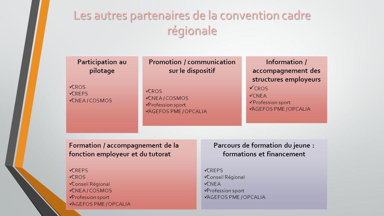 Les autres partenaires de la convention cadre régionale Participation au pilotage CROS CREPS CNEA / COSMOS Promotion / communication sur le dispositif