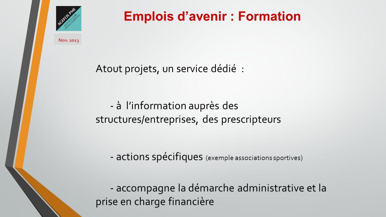 Atout projets, un service dédié : - à linformation auprès des structures/entreprises, des prescripteurs - actions spécifiques (exemple associations sp