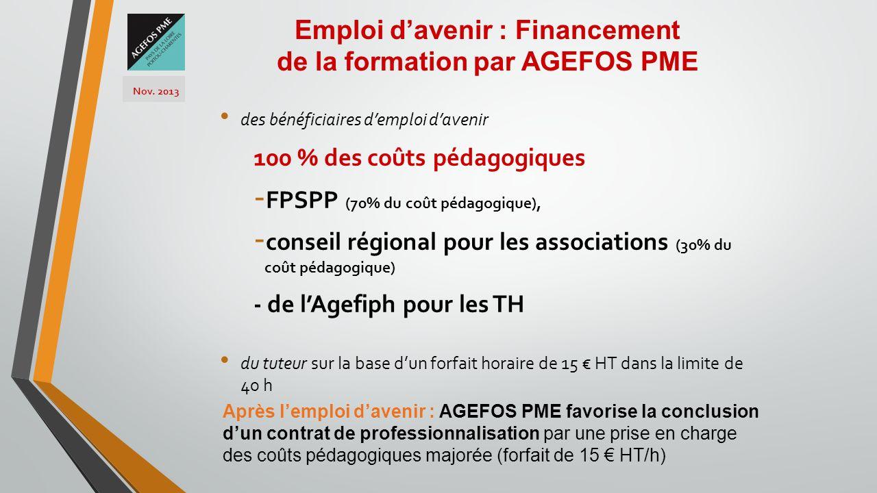 des bénéficiaires demploi davenir 100 % des coûts pédagogiques - FPSPP (70% du coût pédagogique), - conseil régional pour les associations (30% du coû