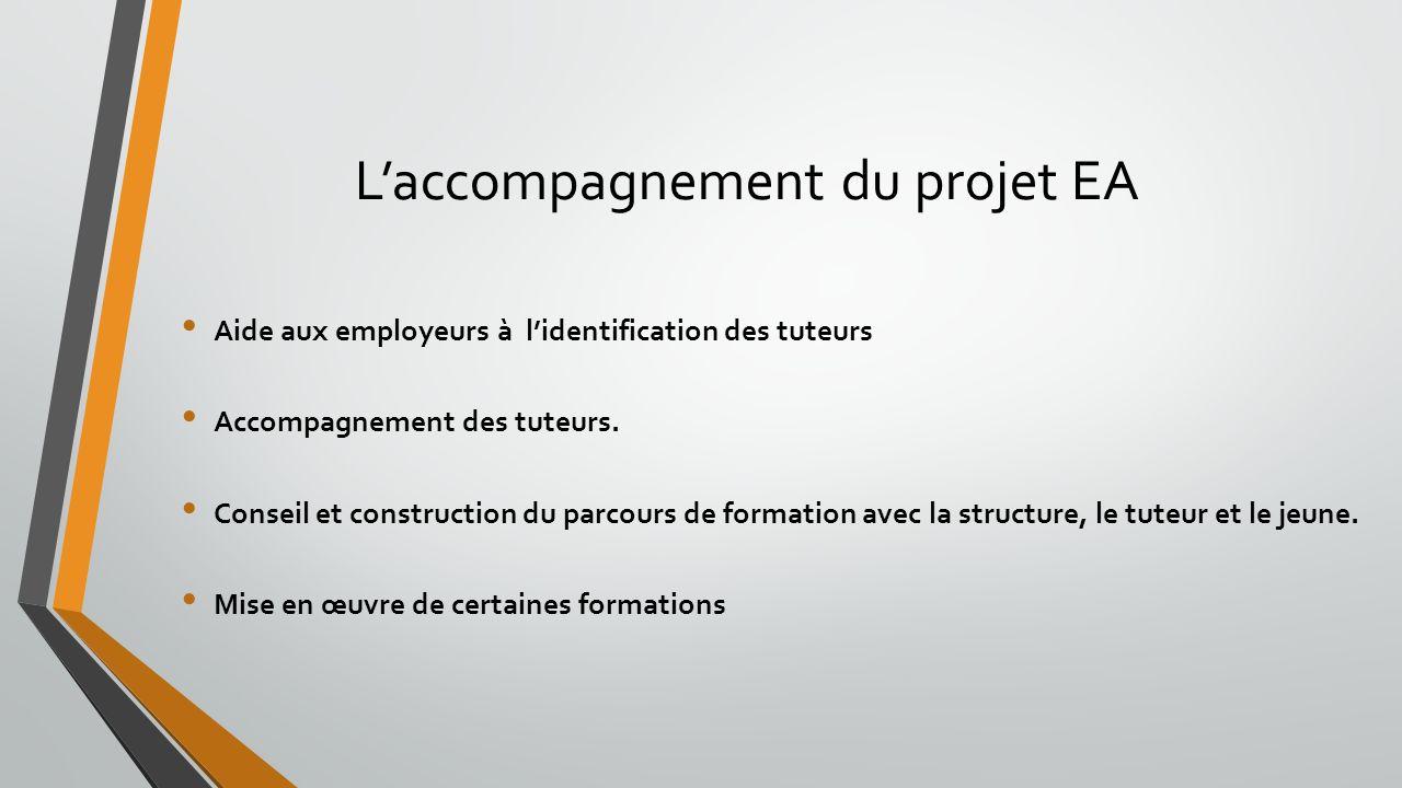 Laccompagnement du projet EA Aide aux employeurs à lidentification des tuteurs Accompagnement des tuteurs. Conseil et construction du parcours de form