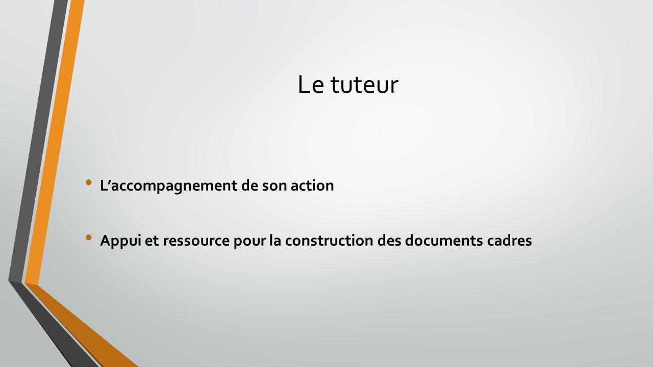 Le tuteur Laccompagnement de son action Appui et ressource pour la construction des documents cadres