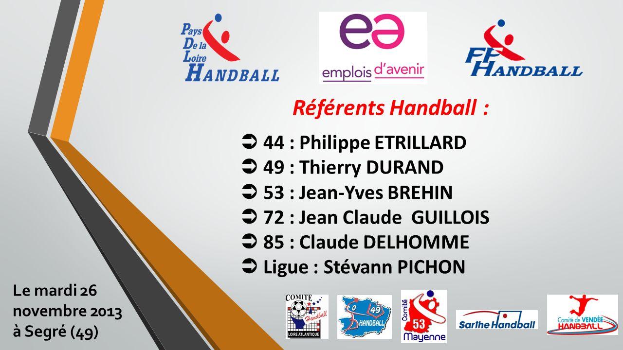 Référents Handball : 44 : Philippe ETRILLARD 49 : Thierry DURAND 53 : Jean-Yves BREHIN 72 : Jean Claude GUILLOIS 85 : Claude DELHOMME Ligue : Stévann